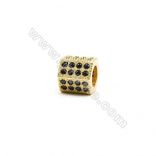 8x8mm Gold (Rhodium Black Rose Gold) Plated Brass Column Beads  Cubic Zirconia Micropave  Hole 4.5mm  20pcs/pack