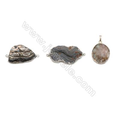 Irregular Druzy Agate Connectors, Silver-plated Brass, Size: 20-26x28-40mm, Hole 1.5mm, Hand-cut Single-sided