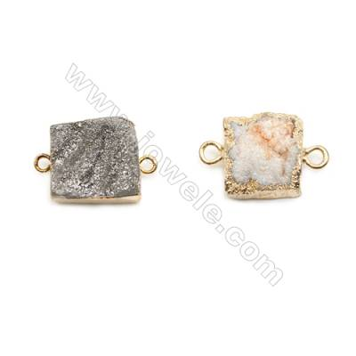 Square Druzy Agate Connectors, Gold-plated Brass, Size: about 15-16mm, Hole 2mm, Hand-cut Single-sided