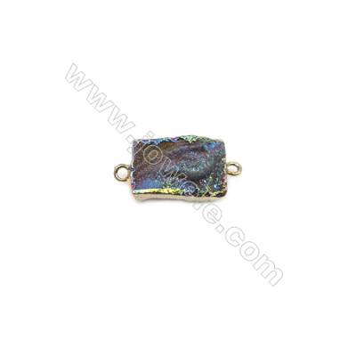 Rectangle Druzy Agate Connectors, Color AB, Gold-plated Brass, Size: about13x20mm, Hole 2mm, Hand-cut Single-sided