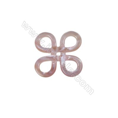 Chinese knot pink shell mother-of-pearl findings, 23mm, x 10pcs/pack