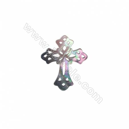 Hollow cross gray mother-of-pearl shell accessories, 24x30mm, x 10pcs/pack