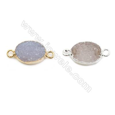Oval Druzy Agate Connectors, Color AB, Silver/Gold-plated Brass, Size: about 10x14mm, Hole 1.5mm, x1pc