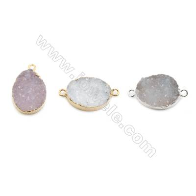 Connectors/Pendants, about 15x20mm, Hole 2mm, Electro-coated Druzy Agate (natural) and Gold-finished Brass