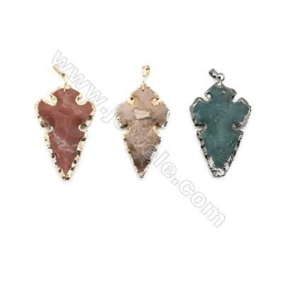 Indian Agate Arrowhead Pendant, about 32x55mm, Gold(Black)-finished Brass, Sold individually.