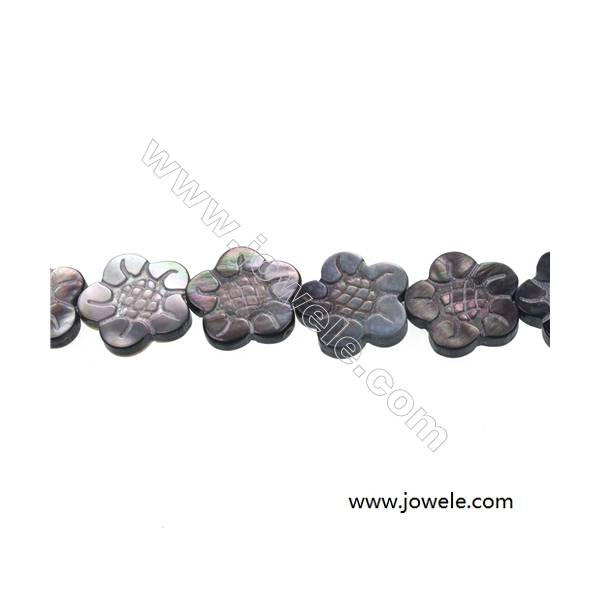 Gray floral design mother-of-pearl shell beaded strand, Size 18x18 mm, Hole 0.7mm , 20 beads/strand  15~16''