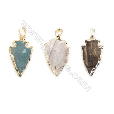 Indian Agate Arrowhead Pendant, about 20x30mm, Gold-finished Brass, Sold individually.
