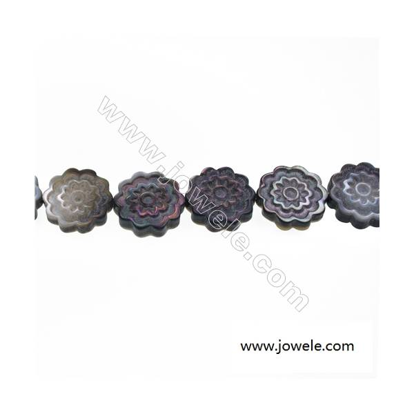 Gray mother-of-pearl shell flower strand beads, 18x18 mm, hole 0.7mm, 22 beads/strand 15~16''