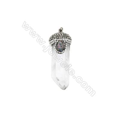 Focal, Crystals and Black-plated Brass, Clear, 16x57mm, Faceted Pendant. Sold individually.