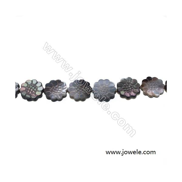 """Gray mother-of-pearl floral beaded strand, 14x14mm, hole 0.7mm, 28 beads/strip 15~16"""""""