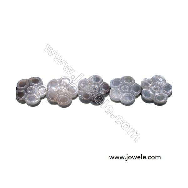 Flower-shaped gray mother-of-pearl shell strand beads, Size 18x18 mm, Hole 0.7mm, 22 beads/strand
