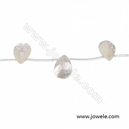 White mother-of-pearl water drop beaded strand 25x35mm  hole diameter 0.7mm  10 beads /strand