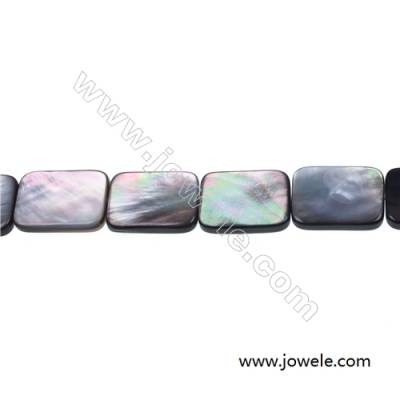 Flat rectangle mother-of-pearl strand beads, 15x20 mm, hole 0.7 mm, 20 beads/strand 15~16""