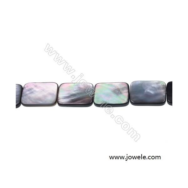 """Flat rectangle mother-of-pearl strand beads, 15x20 mm, hole 0.7 mm, 20 beads/strand 15~16"""""""