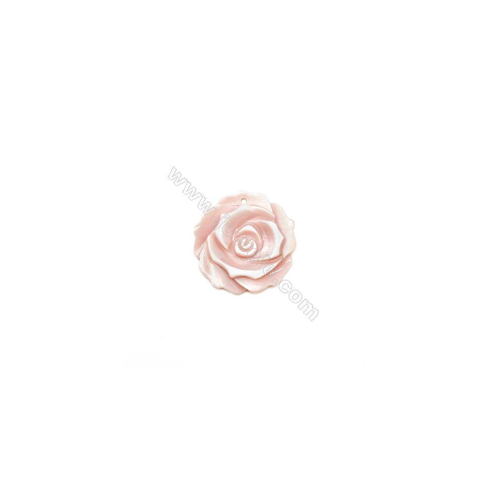 Pink mother-of-pearl rose design shell, 22mm, hole 1mm, 10pcs/pack