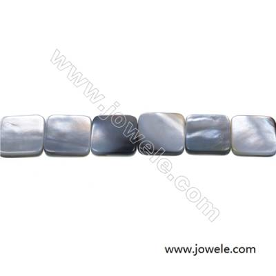 Gray mother-of-pearl shell flat square strand beads, 15x15mm, hole 0.7mm, 26 beads/strand 15~16""