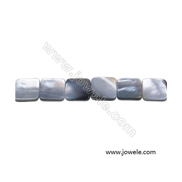"""Gray mother-of-pearl shell flat square strand beads, 15x15mm, hole 0.7mm, 26 beads/strand 15~16"""""""