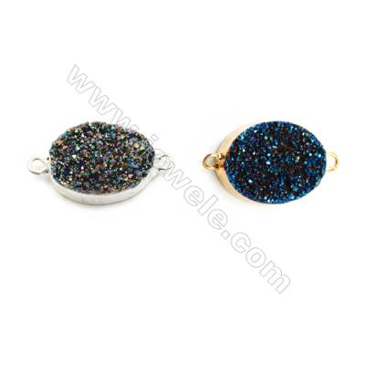 Oval Connector, about 15x20mm, Hole 2mm, Electro-coated Druzy Agate (natural) and Gold-finished Brass, Sold individually.