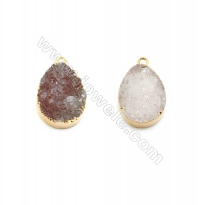 Pendant, electro-coated druzy agate (coated) and gold-plated brass, White, 15x20mm, hand-cut single-sided teardrop