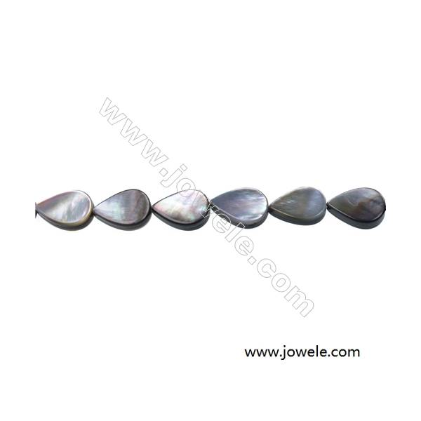 """Gray mother-of-pearl water droplets strand beads, 10x14mm, hole 0.7mm, 28 beads/strip 15~16"""""""