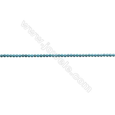 4mm Natural Blue Turquoise Beads Strand  Round  Hole 0.6mm  about 94beads/strand 15~16""
