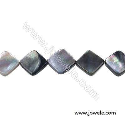 Gray mother-of-pearl shell square beaded strand, 15x15mm, hole 0.7mm, 26 beads/strand 15~16""