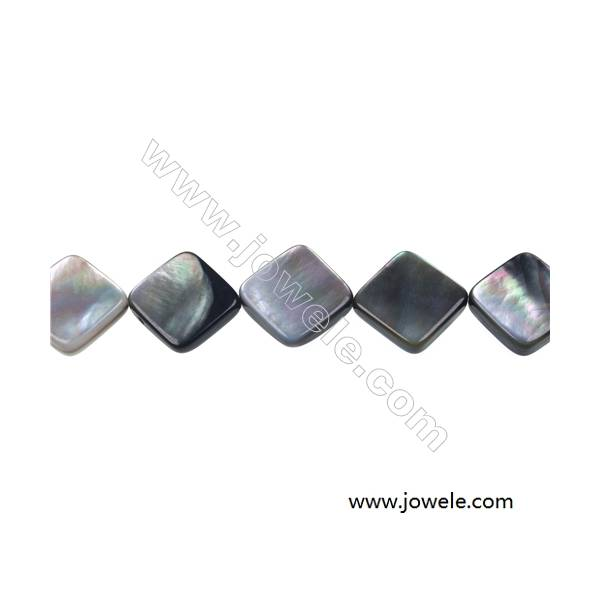 """Gray mother-of-pearl shell square beaded strand, 15x15mm, hole 0.7mm, 26 beads/strand 15~16"""""""