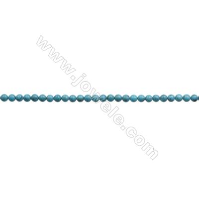 6mm Natural Blue Turquoise Beads Strand  Round  Hole 0.8mm  about 66beads/strand 15~16""