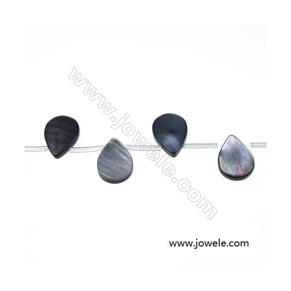 """Gray mother-of-pearl water droplets strand beads, 13x18mm, hole 0.7mm, 22 beads/strand 15~16"""""""