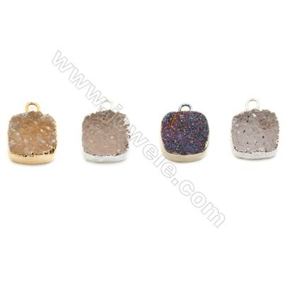 Square Druzy Agate Pendants, Electroplated, Gold/Silver-plated Brass, 12x12mm, hand-cut single-sided. Sold individually.