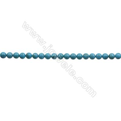 10mm Natural Blue Turquoise Beads Strand  Round  Hole 1mm  about 39beads/strand 15~16""