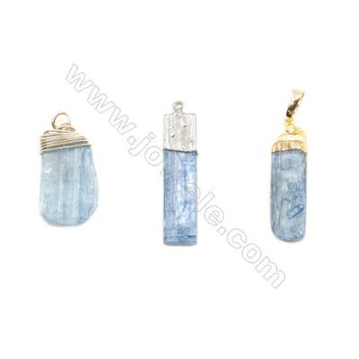 Freeform Pendant, Kyanite and gold(silver)-plated brass wire, 11x32mm, sold individually