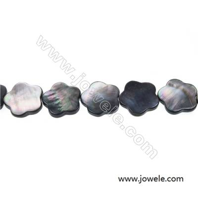Gray mother-of-pearl flower beaded strand, 20 x 20 mm, hole 0.7mm, 21 beads/strand  15~16""