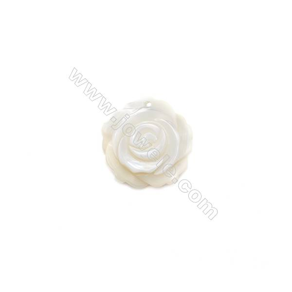 Rose designed White mother-of-pearl natural shell, 15mm, hole 1mm, 30pcs/pack