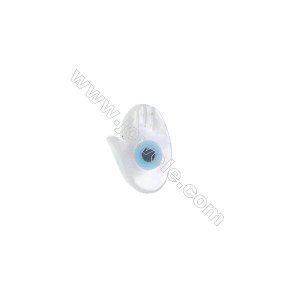 Palm-shaped evil eye mother-of-pearl shell strand beads, 5x8mm, Hole 0.7mm, 30 beads/strand