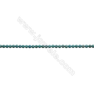 6mm Natural Turquoise Beads Strand  Faceted Round  Hole 0.8mm  about 66 beads/strand  15~16""