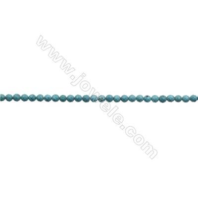 7mm Natural Turquoise Beads Strand  Faceted Round  Hole 0.8mm  about 58 beads/strand  15~16""