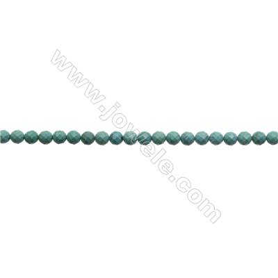 9.5mm Natural Turquoise Beads Strand  Faceted Round  Hole 1mm  about 45 beads/strand  15~16""