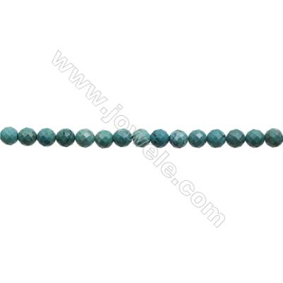 12mm Natural Turquoise Beads Strand  Faceted Round  Hole 1mm  about 35 beads/strand  15~16""