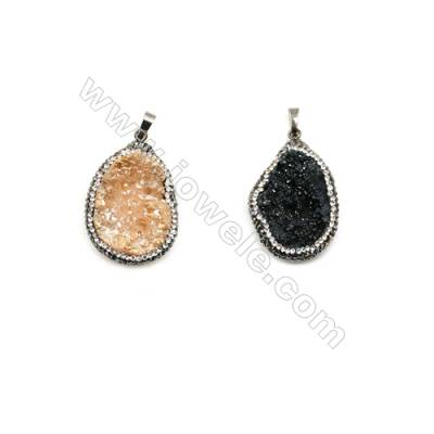 Electroplated Druzy Quartz Crystal Pendants, Black/Yellow, about 26x37mm, x1pc, Pave cubic zirconia