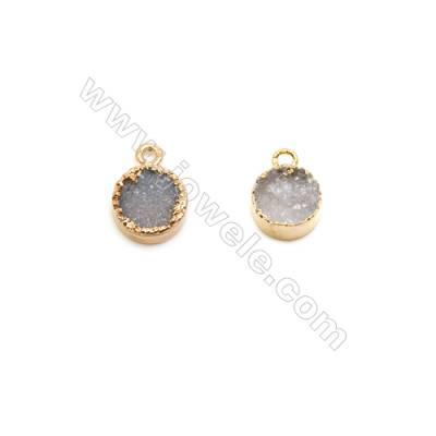Pendant, electro-coated druzy agate and gold-plated brass, 8mm, hand-cut single-sided flat round