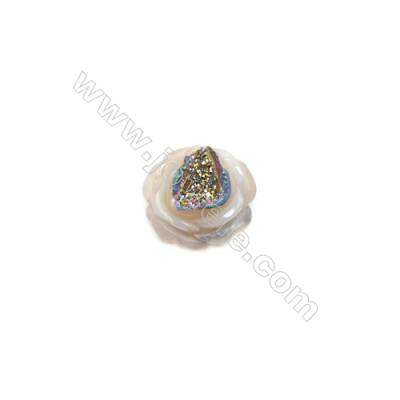 Electro-coated druzy agate (coated)   18x18mm  single-sided flower. Sold individually.