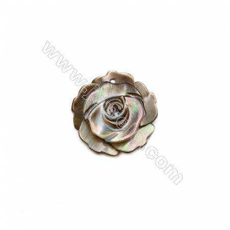 Grey mother-of-pearl rose design shell, 15mm, hole 1mm, 20pcs/pack