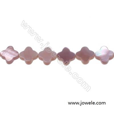 White mother-of-pearl shell four-leaf flower strand beads, 10 mm, Hole 0.7 mm, 40 beads/strand 15~16""