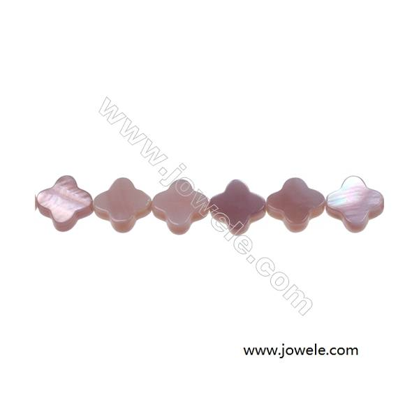 """White mother-of-pearl shell four-leaf flower strand beads, 10 mm, Hole 0.7 mm, 40 beads/strand 15~16"""""""