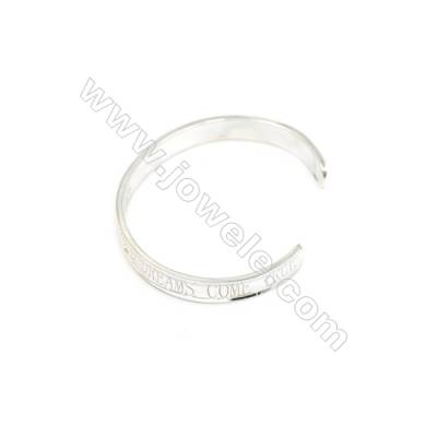 925 Sterling Silver Cuff Bangle x 1piece  Inner Diameter about 62mm  Thick: 2.3x8mm