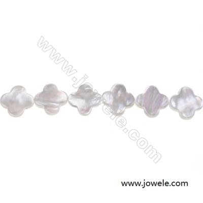 White mother-of-pearl shell four-leaf flower beaded strand, Diameter 13mm, Hole 0.7mm, 31 beads /strand  15~16""