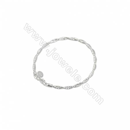 925 Sterling Silver Twisted Bracelet x 1piece  Double Chain  Length about 165mm