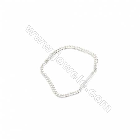 925 Sterling Silver Bracelet x 1piece  Curb Chain with Engravable Bar  Length about 170mm  Bar: 3.5x21mm
