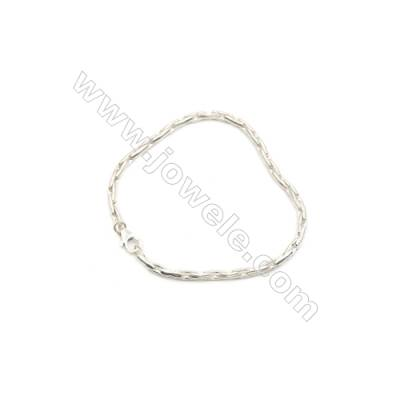 925 Sterling Silver Bracelet x 1piece  Cross Chain with Lobster Clasp  Length about 200mm